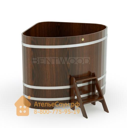 Купель для бани дубовая угловая 1,31х1,31 м (мореный дуб, полимерное покрытие, H = 1,2 м)