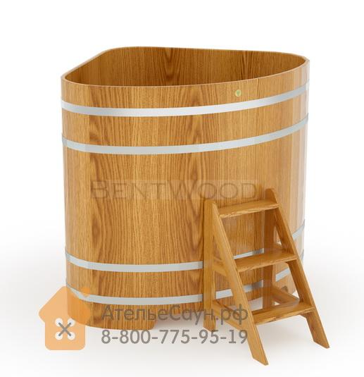 Купель для бани дубовая угловая 1,31х1,31 м (натуральный дуб, полимерное покрытие, H = 1,4 м)