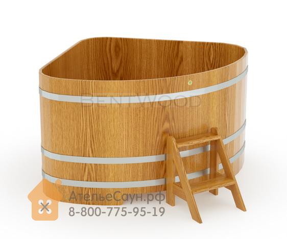Купель для бани дубовая угловая 1,53х1,53 м (натуральный дуб, полимерное покрытие, H = 1,0 м)