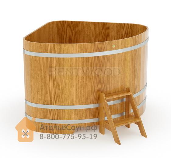 Купель для бани дубовая угловая 1,53х1,53 м (натуральный дуб, полимерное покрытие, H = 1,2 м)