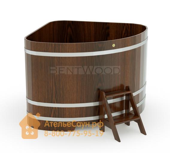 Купель для бани дубовая угловая 1,53х1,53 м (мореный дуб, полимерное покрытие, H = 1,2 м)