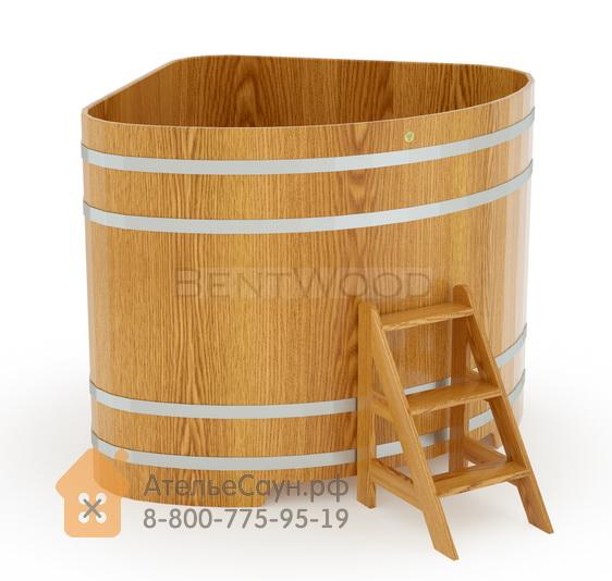 Купель для бани дубовая угловая 1,53х1,53 м (натуральный дуб, H = 1,4 м)