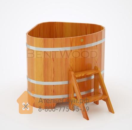Купель для бани из лиственницы угловая 1,1х1,1 м (натуральная, полимерное покрытие, H = 1,0 м)
