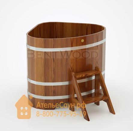 Купель для бани из лиственницы угловая 1,1х1,1 м (мореная, полимерное покрытие, H = 1,0 м)