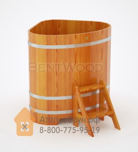 Купель для бани из лиственницы угловая 1,1х1,1 м (натуральная, полимерное покрытие, H = 1,2 м)
