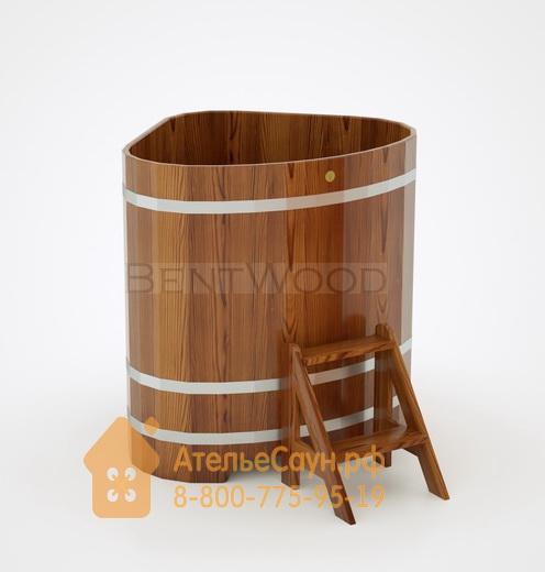 Купель для бани из лиственницы угловая 1,1х1,1 м (мореная, полимерное покрытие, H = 1,2 м)