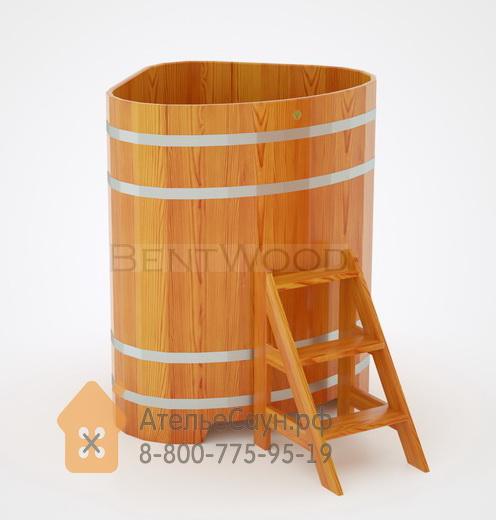 Купель для бани из лиственницы угловая 1,1х1,1 м (натуральная, полимерное покрытие, H = 1,4 м)