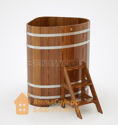 Купель для бани из лиственницы угловая 1,1х1,1 м (мореная, полимерное покрытие, H = 1,4 м)