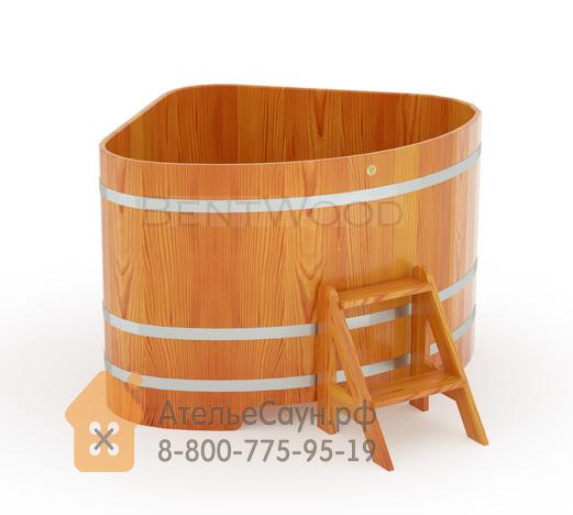 Купель для бани из лиственницы угловая 1,31х1,31 м (натуральная, полимерное покрытие, H = 1,0 м)