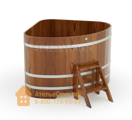 Купель для бани из лиственницы угловая 1,31х1,31 м (мореная, полимерное покрытие, H = 1,0 м)