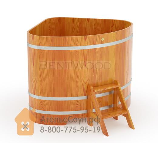 Купель для бани из лиственницы угловая 1,31х1,31 м (натуральная, полимерное покрытие, H = 1,2 м)