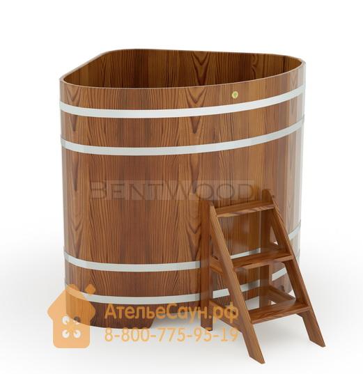 Купель для бани из лиственницы угловая 1,31х1,31 м (мореная, полимерное покрытие, H = 1,4 м)