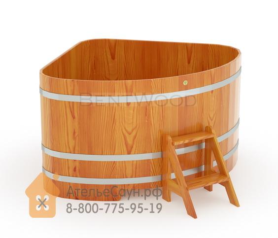 Купель для бани из лиственницы угловая 1,53х1,53 м (натуральная, полимерное покрытие, H = 1,0 м)