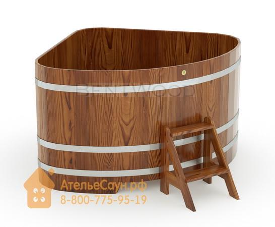 Купель для бани из лиственницы угловая 1,53х1,53 м (мореная, полимерное покрытие, H = 1,0 м)