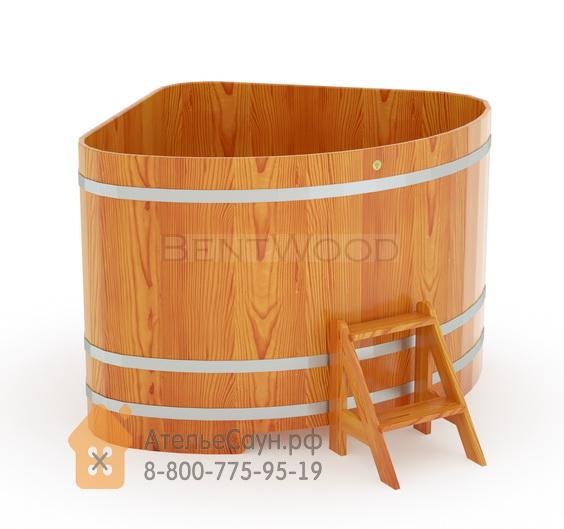 Купель для бани из лиственницы угловая 1,53х1,53 м (натуральная, полимерное покрытие, H = 1,2 м)