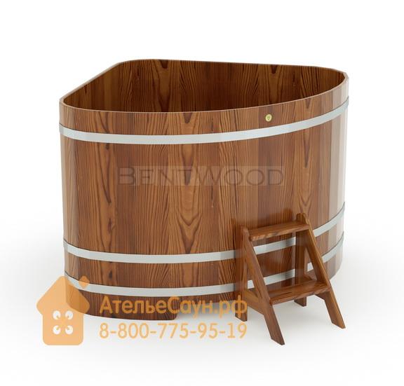Купель для бани из лиственницы угловая 1,53х1,53 м (мореная, полимерное покрытие, H = 1,2 м)