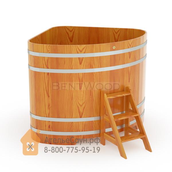 Купель для бани из лиственницы угловая 1,53х1,53 м (натуральная, полимерное покрытие, H = 1,4 м)