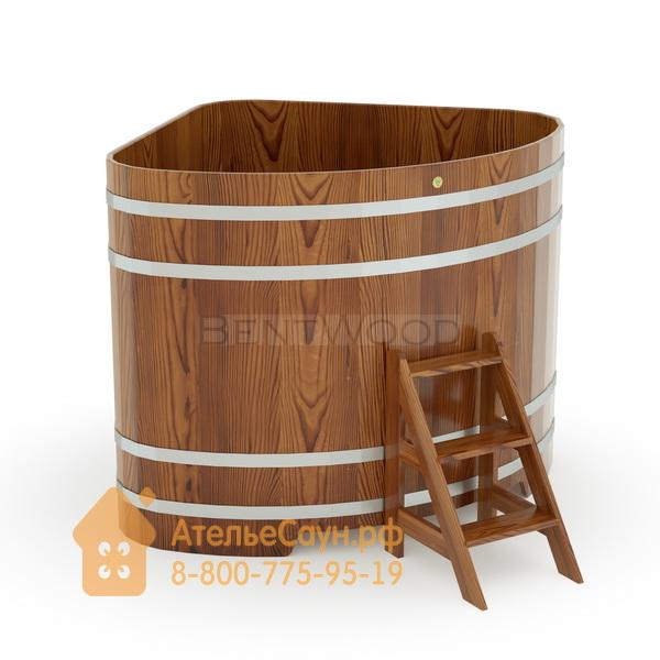 Купель для бани из лиственницы угловая 1,53х1,53 м (мореная, полимерное покрытие, H = 1,4 м)