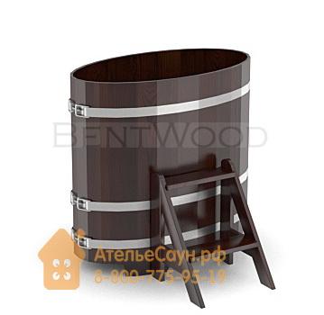 Купель для бани из дуба овальная 0,59х1,06 м (мореный дуб, полимерное покрытие, H = 1,0 м)