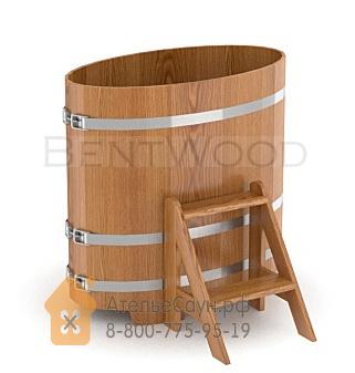 Купель для бани из дуба овальная 0,59х1,06 м (натуральный дуб, полимерное покрытие, H = 1,2 м)