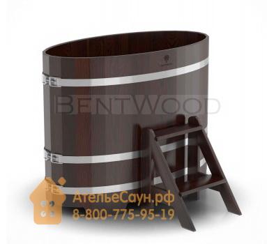 Купель для бани из дуба овальная 0,69х1,31 м (мореный дуб, полимерное покрытие, H = 1,0 м)