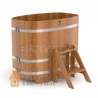 Купель для бани из дуба овальная 0,76х1,16 м (натуральный дуб, полимерное покрытие, H = 1,0 м)