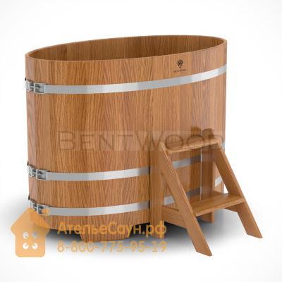 Купель для бани из дуба овальная 0,8х1,42 м (натуральный дуб, полимерное покрытие, H = 1,0 м)