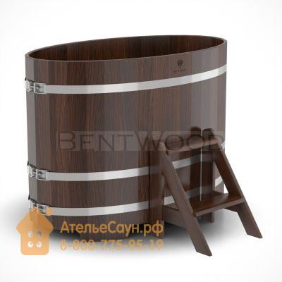 Купель для бани из дуба овальная 0,8х1,42 м (мореный дуб, полимерное покрытие, H = 1,0 м)