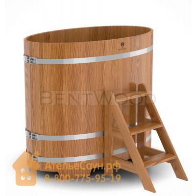 Купель для бани из дуба овальная 0,8х1,42 м (натуральный дуб, полимерное покрытие, H = 1,2 м)