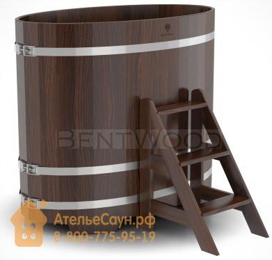 Купель для бани из дуба овальная 0,8х1,42 м (мореный дуб, полимерное покрытие, H = 1,2 м)