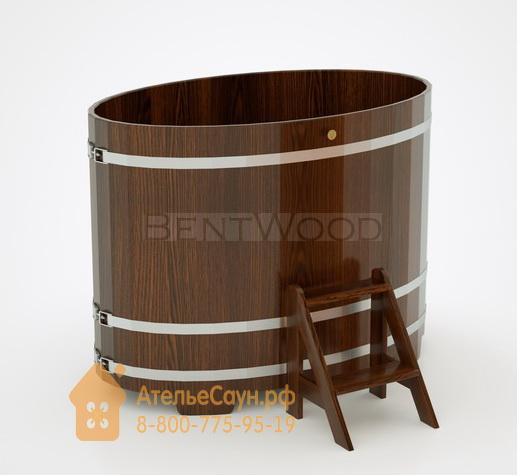Купель для бани из дуба овальная 0,95х1,60 м (мореный дуб, полимерное покрытие, H = 1,2 м)