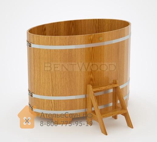 Купель для бани из дуба овальная 0,95х1,60 м (натуральный дуб, полимерное покрытие, H = 1,4 м)