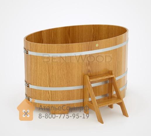 Купель для бани из дуба овальная 1,02х1,68 м (натуральный дуб, полимерное покрытие, H = 1,0 м)