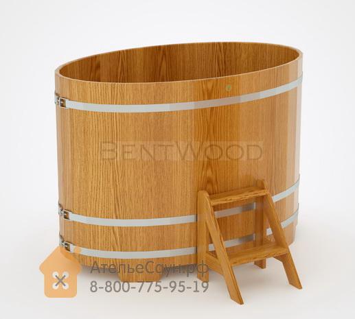 Купель для бани из дуба овальная 1,02х1,68 м (натуральный дуб, полимерное покрытие, H = 1,2 м)