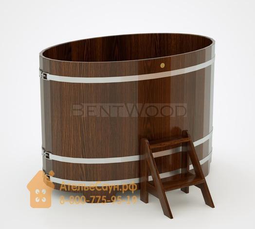 Купель для бани из дуба овальная 1,02х1,68 м (мореный дуб, полимерное покрытие, H = 1,2 м)