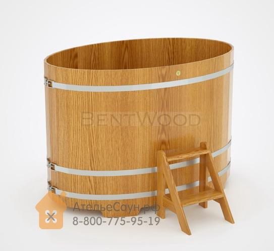 Купель для бани из дуба овальная 1,08х1,75 м (натуральный дуб, полимерное покрытие, H = 1,2 м)