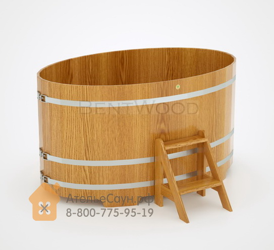 Купель для бани из дуба овальная 1,15х1,83 м (натуральный дуб, полимерное покрытие, H = 1,0 м)