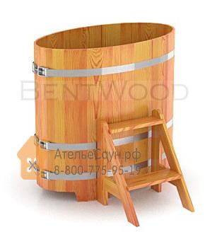 Купель для бани из лиственницы овальная 0,59х1,06 м (натуральная, полимерное покрытие, H = 1,0 м)