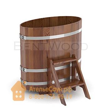 Купель для бани из лиственницы овальная 0,59х1,06 м (мореная, полимерное покрытие, H = 1,0 м)