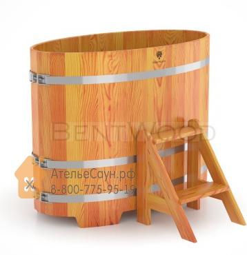 Купель для бани из лиственницы овальная 0,69х1,31 м (натуральная, полимерное покрытие, H = 1,0 м)
