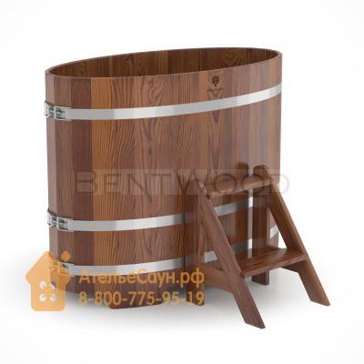 Купель для бани из лиственницы овальная 0,69х1,31 м (мореная, полимерное покрытие, H = 1,0 м)