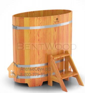 Купель для бани из лиственницы овальная 0,69х1,31 м (натуральная, полимерное покрытие, H = 1,2 м)