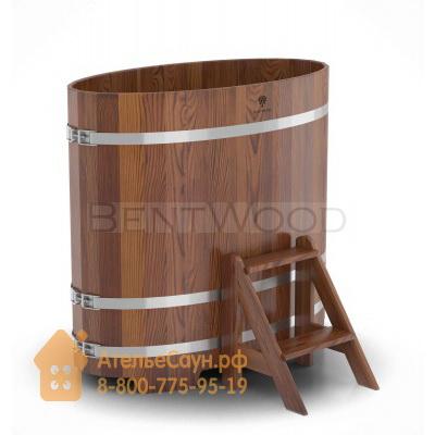 Купель для бани из лиственницы овальная 0,69х1,31 м (мореная, полимерное покрытие, H = 1,2 м)