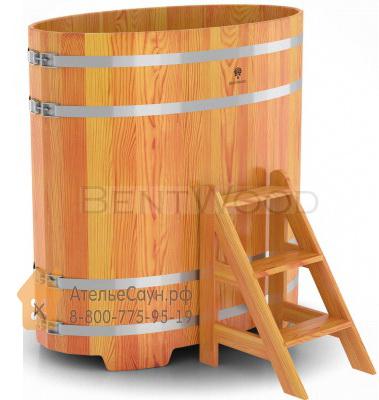 Купель для бани из лиственницы овальная 0,69х1,31 м (натуральная, полимерное покрытие, H = 1,4 м)