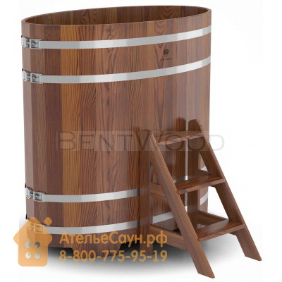 Купель для бани из лиственницы овальная 0,69х1,31 м (мореная, полимерное покрытие, H = 1,4 м)