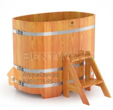 Купель для бани из лиственницы овальная 0,76х1,16 м (натуральная, полимерное покрытие, H = 1,0 м)
