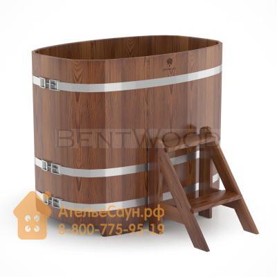 Купель для бани из лиственницы овальная 0,76х1,16 м (мореная, полимерное покрытие, H = 1,0 м)