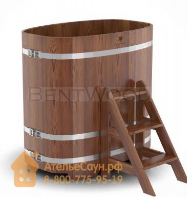 Купель для бани из лиственницы овальная 0,76х1,16 м (мореная, полимерное покрытие, H = 1,2 м)