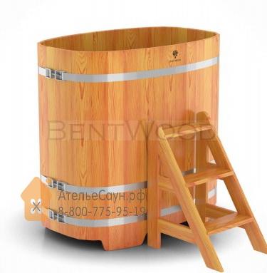 Купель для бани из лиственницы овальная 0,76х1,16 м (натуральная, полимерное покрытие, H = 1,4 м)