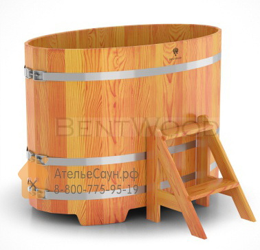 Купель для бани из лиственницы овальная 0,8х1,42 м (натуральная, полимерное покрытие, H = 1,0 м)